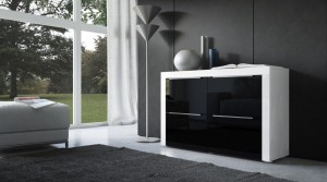 commode-design-laque-4-portes-noirblanc