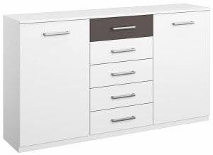 commode design 2 portes-5 tiroirs coloris blanc-gris barcelone