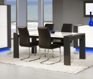 table de salle manger design blanc laqu et anthracite nestor 1
