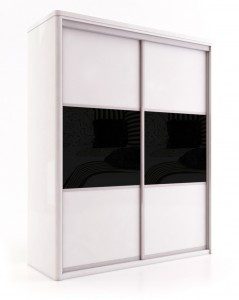 SLW31 -Ivory 2 door 3 panel - 2 top and bottom panel Ivory glass centre panel black glass 23743f10-0690-490c-8a3c-1ea2b0691857