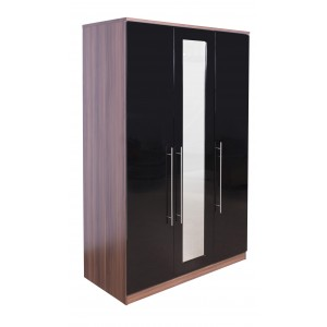 modular-walnut-and-black-gloss-3-door-mirrored-wardrobe-